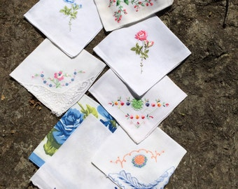 Vintage Handkerchief Lot, Vintage Hankies, Floral Vintage Hanky