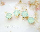 Pale Green Chrysolite Opal 8mm Round Swarovski Rhinestone in Brass Prong Drop or Connector Settings - 4
