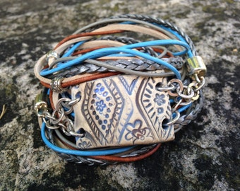 Tribal Boho Leather Wrap Bracelet with Handmade OOAK Ceramic focal piece in Earthy Neutral Blues and Browns 5X wrap