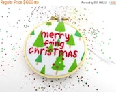 SHOP CLOSING SALE - Merry F'ing Christmas Ornament - Hand Embroidered Hoop Art for the Holidays : Christmas Tree Decoration Embroidery