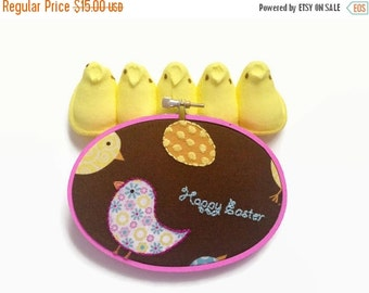 CLOSING SALE - Cute Easter Decor - Bright Embroidery Hoop / Hand Embroidered Art - chick, easter egg, happy easter in bright colors - great