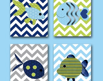 Bathroom Wall Art Sea Fish Nursery Wall Art Baby Nursery Art Baby Nursery Decor Kids Room Decor Kids Art set of 4 Sea Fish Green Blue Navy /
