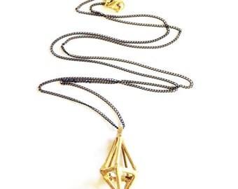 Cast Brass Diamond Prism Necklace