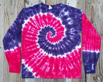 Women's Long Sleeve Tie Dye Tshirt, S M L XL XXL, Hippie Kids, Pink Purple Tie Dye Shirt, Gift for Her, LadiesPink Purple Top, Tie Dye