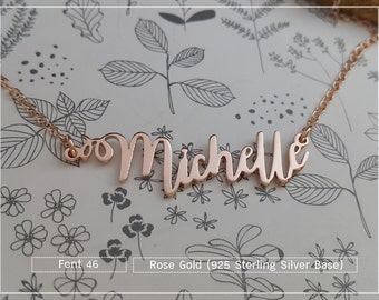 20% OFF / Font 46 / Custom name necklace - Personalized name necklace - Sterling silver- yellow gold- Bridesmaid , mother, Valentine gift