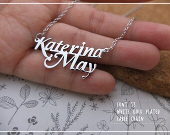 Font 13 // Personalized Name Necklace come with chain Gift box included. X'mas-mother-graduation - Valentine gift.