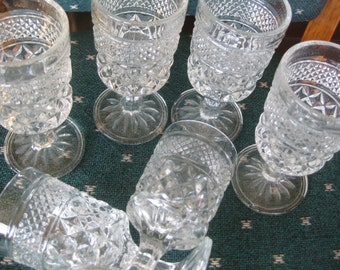 Vintage Anchor Hocking Wexford  Pressed glass 4 ounce Goblets,  Great  Set of 6 china galore  barware