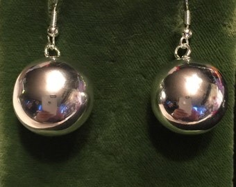 Sterling Ball earings with bell inside