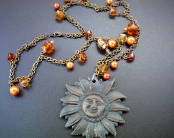 Bronze sun and amber charm necklace, Recycled jewelry, Handmade jewelry,Repurposed jewelry,Upcycled jewelry,Free USA shipping,Made in USA/MI