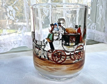 Antique Glass Mug - Hand Painted Tankard - English Stage Coach for London - Beer Mug - Large Glass Beer Stein -Beer Tankard - Man Cave - Pub