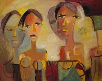 Oil Painting Modern Original Art  Impressionist Abstract Portrait k76