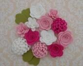 Handmade Wool Felt Flowers, Carnation Pink, Shocking Pink, and White.