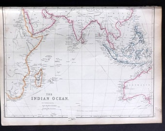 Blackie 1860 Antique Map. The Indian Ocean