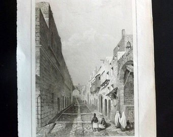 L'Univers Pittoresque C1850 Antique Print. Le Rue des Chevaliers. Rhodes