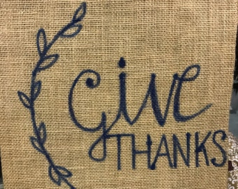 Painted burlap sack Give Thanks