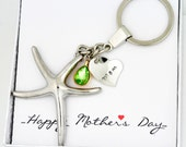 Personalized Silver Heart Charm Key Chain Ring w Initial Pendant & Colored Crystal- For Mother's Day,Present for Mom,Love,Housewarming, Gift