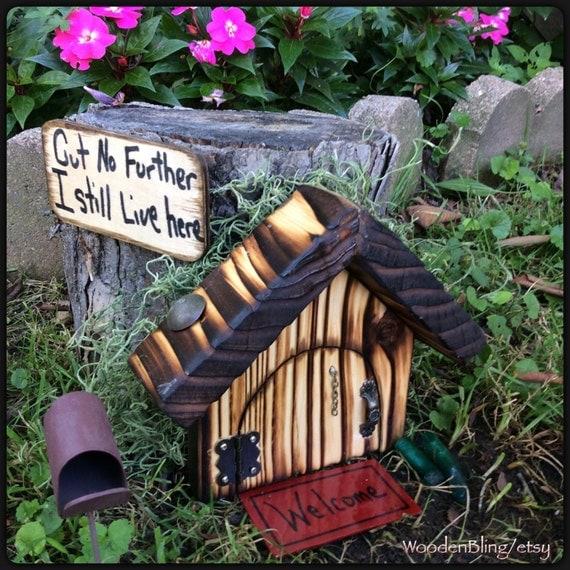 Gnome fairy door garden garden decor housewarming wood for Wooden fairy doors to decorate