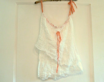 Salmon Tank Top Sizes XS to XL Silk Ribbons White Cotton Cover Up Womens Tattered