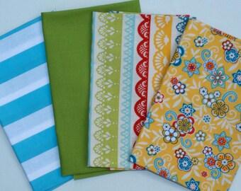 FQ Bundle,  Four Fat Quarter Cuts - TOTAL of 1 Yard - Riley Blake Medium Stripe Aqua Blue, Serenata Lace and Floral Yellow