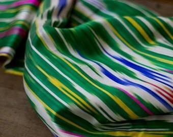 handwoven silk scarf, silk throw, silk ikat scarf, Uzbek ikat scarf, Uzbek silk scarf, green and white stripes, chevron, southwestern print