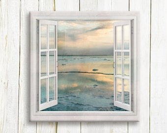 Sunrise over The Dead Sea - Seascape Window view - nautical art print on canvas - Housewarming gift idea