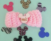 """12 MINNIE Ears Acrylic 1.5"""" Cabochons Select Wood or Acrylic & Colors Cheetah, Pink, Zebra, Glitter 1/8"""" thick Mouse Shape with Holes"""