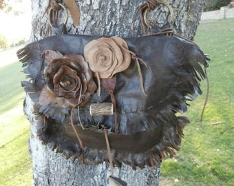 Large Leather Flower Purse
