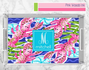 Coastal Tray, Personalized Lucite Tray, Monogrammed Acrylic Tray, Lobster Serving Tray
