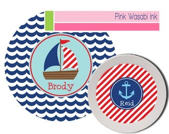 Sailboat Plate Bowl Set Personalized Kids Melamine Dishes Nautical Boys Plate Bowl Set Kids Gift
