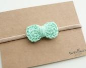 Crochet Bow Headband--Any Color--Mini Bow--Baby headband--Nylon elastic--Girls Hair accessories--