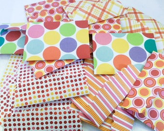 20 mini note cards with envelopes - colorful - polka dots - gift enclosures -gift cards - handmade by Wcards