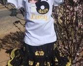 Ari's Angels  girls birthday princess laeh birthday outfit Monogrammed Personalized Shirt & Full Twirling Skirt