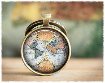World Map Keychain • Travel Gift • Vintage World Map Keyring • Long Distance • Antique Map Keychain