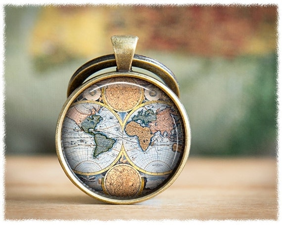 World map keychain travel gift vintage world map keyring like this item gumiabroncs Image collections