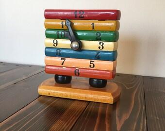 Vintage Clock Toy, Time Teacher Puzzle, Vintage Wooden Clock, Clock Puzzle Toy