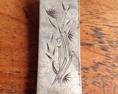 Vintage Sterling Silver Bamboo Engraved Money Clip, QN