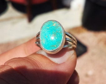 Sterling Silver Turquoise Ring All Natural December Birthstone size 7