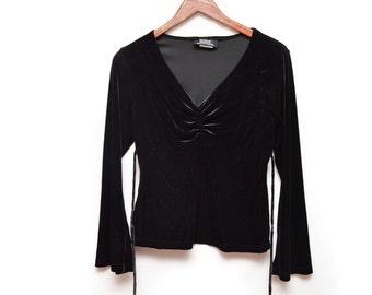 90s Long Sleeved Witchy Black Velour Shirt Women's Small-Medium
