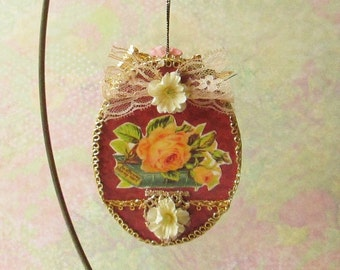 Rose on a Book Ornament / Romantic Victorian Style