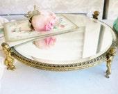 Vintage Round Brass Mirror Cherub Footed Beveled  Mirror Vanity Cake Stand Card Holder Shabby French Antique Patina Wedding Home Decor