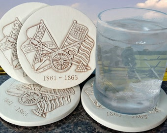Civil War Drink Coasters, Men's Gifts, Absorbent Coasters, Lake House, Cabin, Lodge Decor, Home Decor
