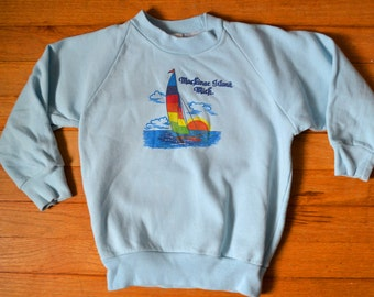Mackinac Island Michigan 80s Deadstock Sweatshirt / Kids Medium or Women's Baby Tee / 6 7 8 9 10 / Powder Pastel Blue / Neon Sailboat