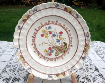 Spode Copeland Cowslip Salad Plate 7 & 7/8 in Multi Color Flower Pattern on Ivory Fine China Chelsea Wicker Shape English Dinnerware VG Cond