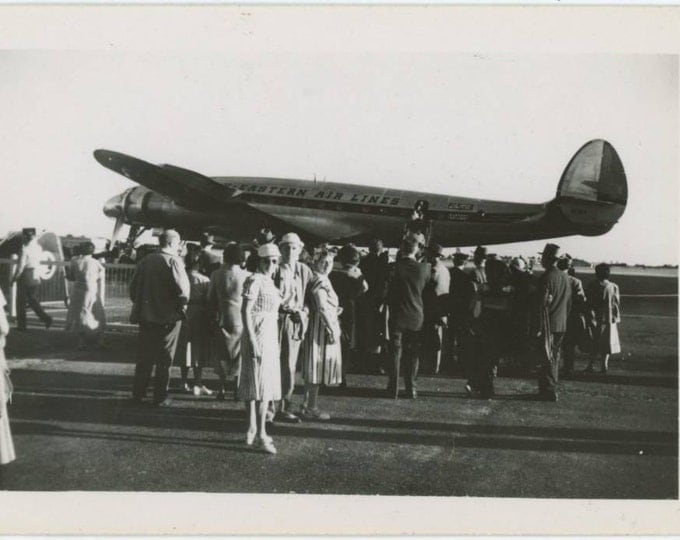 Passengers on Tarmac, Eastern Air Lines Lockheed Constellation c1950s Vintage Snapshot Photo (61448)
