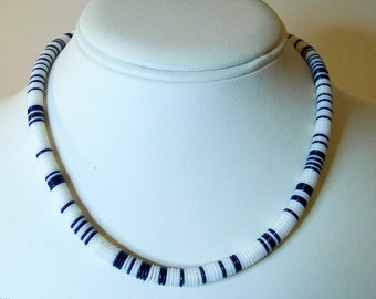 Blue and White Disc Bead Necklace       16 Inch