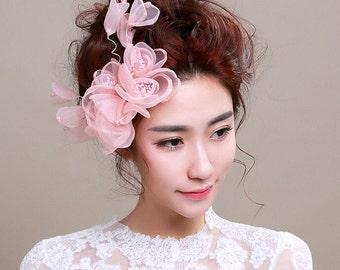 Pink Chiffon Floral Bridal Headpiece, Style #266
