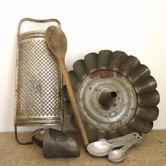 Primitive Country Kitchen Vintage Decor 5 Pc By RaggedyRee