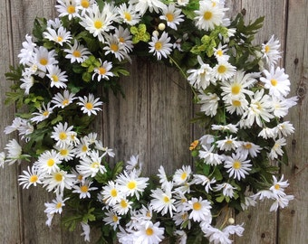 Daisy Wreath, Summer, Spring Wreath, Front Door Wreath