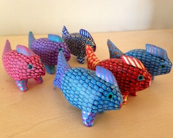 Oaxacan fish wood carving -  Mexican folk art - School of alebrije fish from Oaxaca, Mexico