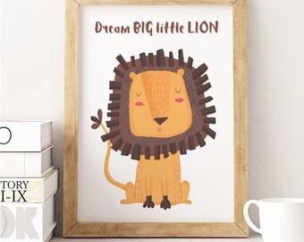 Cute Lion print, Lion Nursery Art, Dream big little lion, Cute animal, Animal wall art, Animal nursery decor, Kids room decor, Nursery print